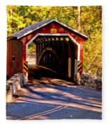 Fall At Kurtzs Mill Covered Bridge Fleece Blanket