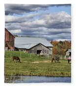 Fall At The Horse Farm Fleece Blanket
