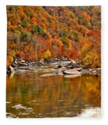 Fall Brilliance At New River Fleece Blanket