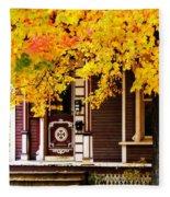 Fall Canopy Over Victorian Porch Fleece Blanket