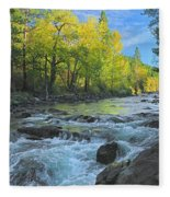 Fall Colors And The Little Salmon River Fleece Blanket