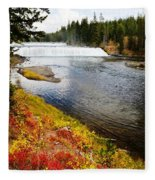 Fall Colors And Waterfalls Fleece Blanket