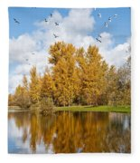 Fall Colors Clouds And Western Gulls Reflected In A Pond Fleece Blanket
