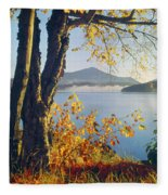 Fall Colors Frame Whiteface Mountain Fleece Blanket