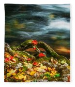 Fall Colors Stream Great Smoky Mountains Painted  Fleece Blanket
