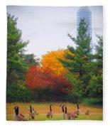 Fall Geese Of Washington Fleece Blanket