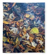 Fall Leaves In A Pond Fleece Blanket