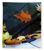 Fall Leaves On A Car Fleece Blanket