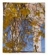 Fall Leaves On Open Windows Jerome Fleece Blanket