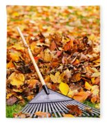 Fall Leaves With Rake Fleece Blanket