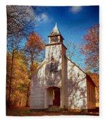 Fall Morning At Palmer Chapel In Cataloochee Fleece Blanket