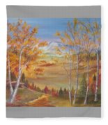 Fall Mountain Path Fleece Blanket