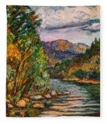 Fall New River Scene Fleece Blanket