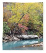 Fall On The River Fleece Blanket