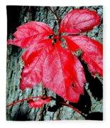 Fall Red Leaf Fleece Blanket