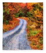 Fall Road To Paradise Fleece Blanket