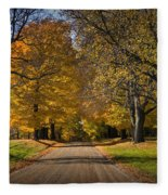 Fall Rural Country Gravel Road Fleece Blanket