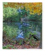 Fall Scene By Pond Fleece Blanket