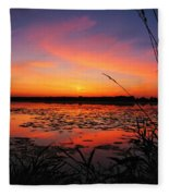 Fall Sunset In The Mead Wildlife Area Fleece Blanket