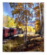 Fall Train Ride New Mexico Fleece Blanket