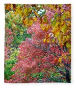 Fall Tree Leaves Fleece Blanket