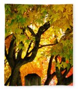 Fall Trees On A Country Road 3 Fleece Blanket