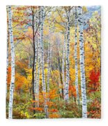 Fall Trees, Shinhodaka, Gifu, Japan Fleece Blanket