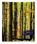 Fall Woods In Michigan Fleece Blanket