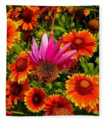 Fallen Coneflower Fleece Blanket