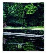 Fallen Log In A Lake Fleece Blanket