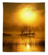 Fallen Tree In Misty Sunrise At Fleece Blanket
