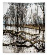 Fallen Tree Reflection Fleece Blanket