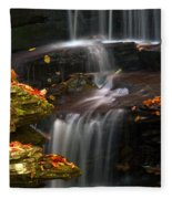 Falls And Fall Leaves Fleece Blanket