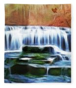 Falls Panorama-features In Groups Rivers Streams And Waterfalls-visions Of The Night Fleece Blanket