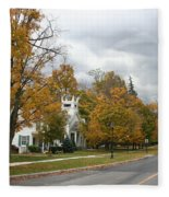 Autumn Trees At The Roadside Fleece Blanket