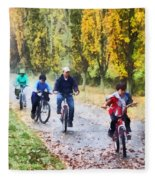 Family Bike Ride Fleece Blanket