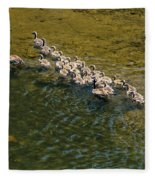 Family Of Geese On The Rogue River Fleece Blanket