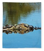 Family Of Turtles Fleece Blanket