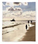 Family On Sunset Beach Fleece Blanket
