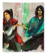 Family Samurai  Fleece Blanket
