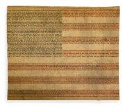Famous Patriotic Quotes American Flag Word Art Fleece Blanket
