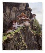 Famous Tigers Nest Monastery Of Bhutan 12 Fleece Blanket