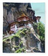Famous Tigers Nest Monastery Of Bhutan 7 Fleece Blanket