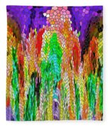 Fanciful Colors  Abstract Mosaic Fleece Blanket