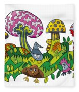 Fanciful Mushroom Nature Doodle Fleece Blanket