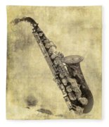 Fancy Antique Saxophone In Pastel Fleece Blanket