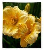 Fancy Yellow Daylilies Fleece Blanket