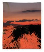 Fantastic Space Sunset Fleece Blanket