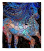 Fantasy Horse Mosaic Blue Fleece Blanket