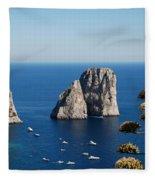 Faraglioni In Capri Fleece Blanket
